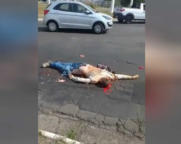 Motorcyclist corpse after an accident