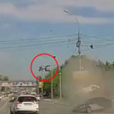 Spectacular accident in Novosibirsk