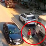 Truck crushed a woman