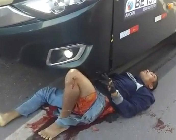 Bus hit a man