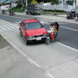 Unlucky family on a motorcycle