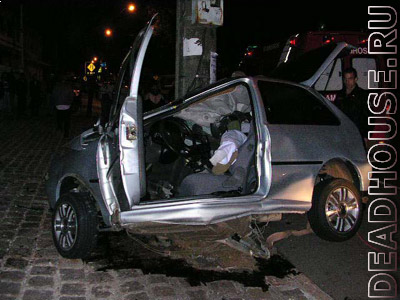 The result of an accident at a speed of 100 km/h