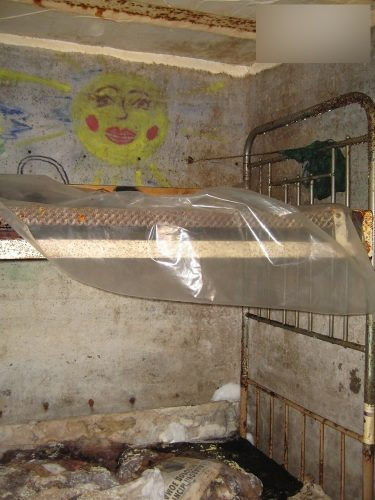 Two-tiered bunks in the prison bunker where the abducted girls were kept