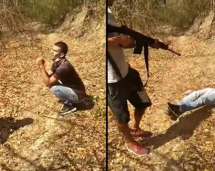 Shooting down from an automatic rifle