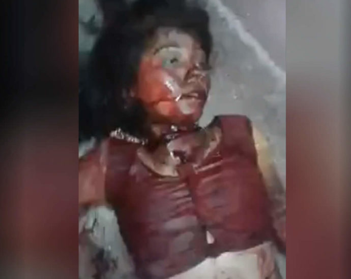 Woman with a slit throat