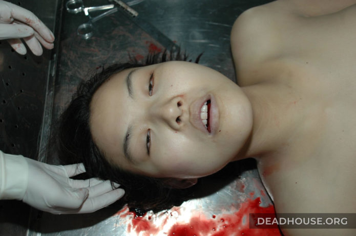 Corpse of a beautiful girl in the morgue