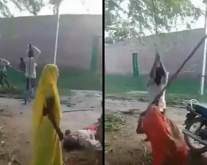 Mass fight with sticks