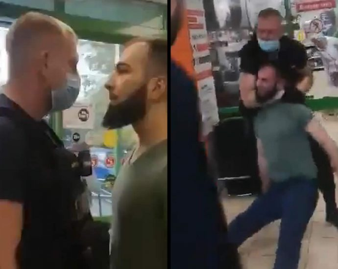 Fight of a Caucasian with a security guard