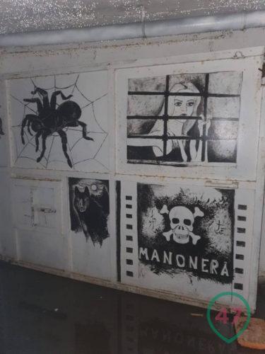 Graffiti on the walls of an underground prison