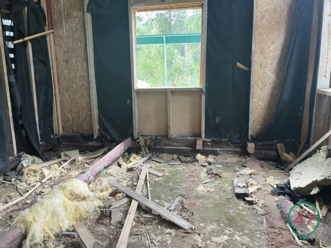 Inside the house. Investigators dismantled the walls, and the marauders completed the ongoing destruction