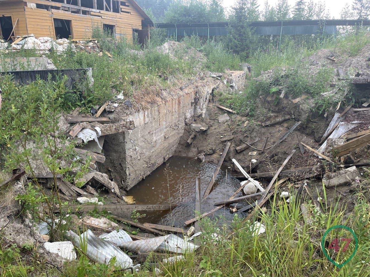 Pit on the site of the underground crematorium