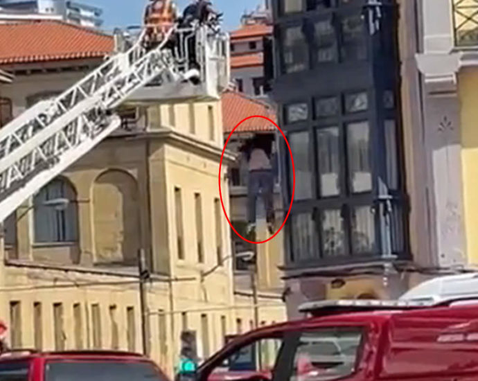 Threw himself out of the window. Video