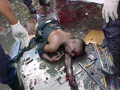 Consequences of a terrorist attack. Caracas. 2000