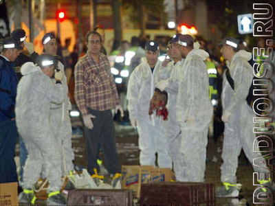 Explosion consequences. Terrorist act in Israel